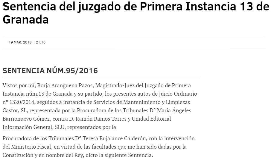 Sentencia del Juzgado de Primera Instancia 13 de Granada